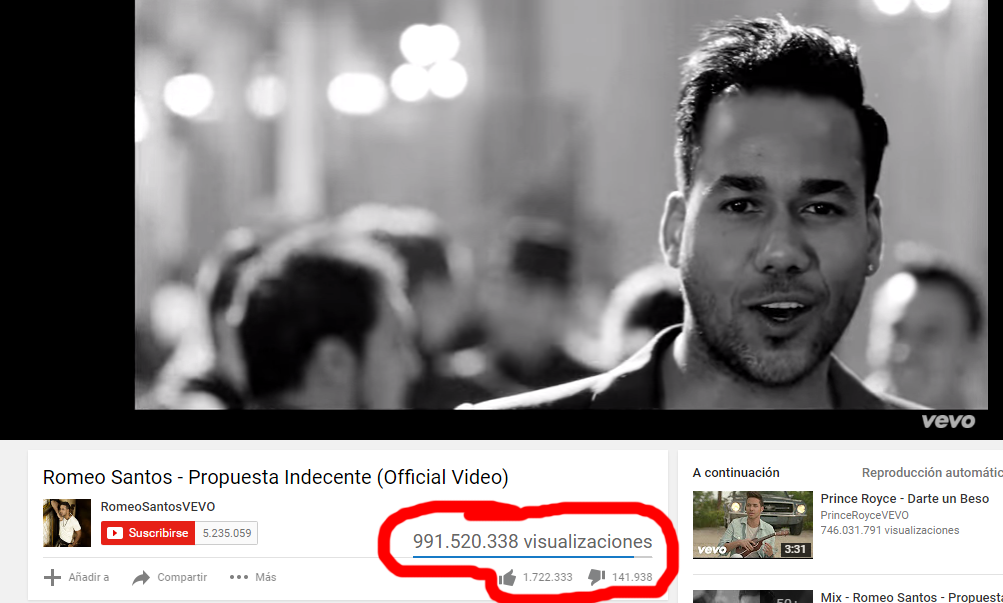 view de tema de romeo santos en youtube